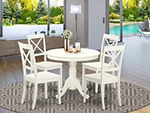 East-West Furniture Dinette Set- 4 Fantastic Wood Dining Chairs - A Lovely Round Wooden Table- Wooden Seat and Linen White Pedestal Dining Table