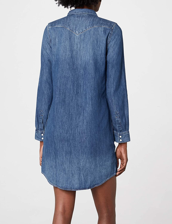 Levi's Women's Iconic Western Long Sleeve Dress Blue (San Francisco Medium 4)