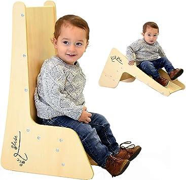 TikTakToo 2in1 High Chair Childrens Slide Solid Wood Toddler Slide Baby Slide Indoor for the Nursery Natural St/ühlchen for Kids ab 1 Jahr