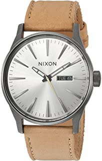 Nixon Mens Sentry Leather Quartz Stainless Steel Casual Watch, Color:Brown (