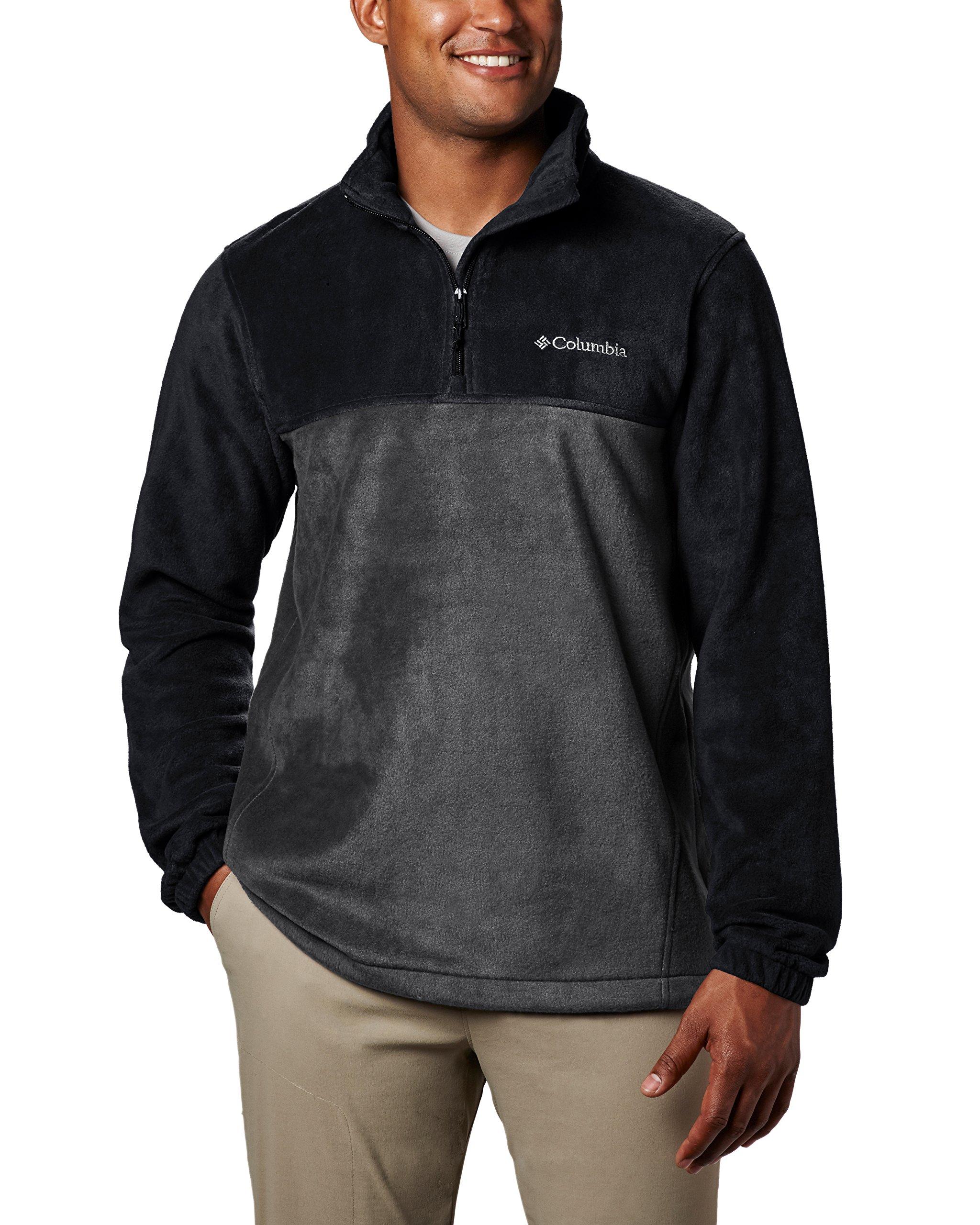 Columbia Men's Steens Mountain Half Zip Soft Fleece Jacket, Black/Grill, Large