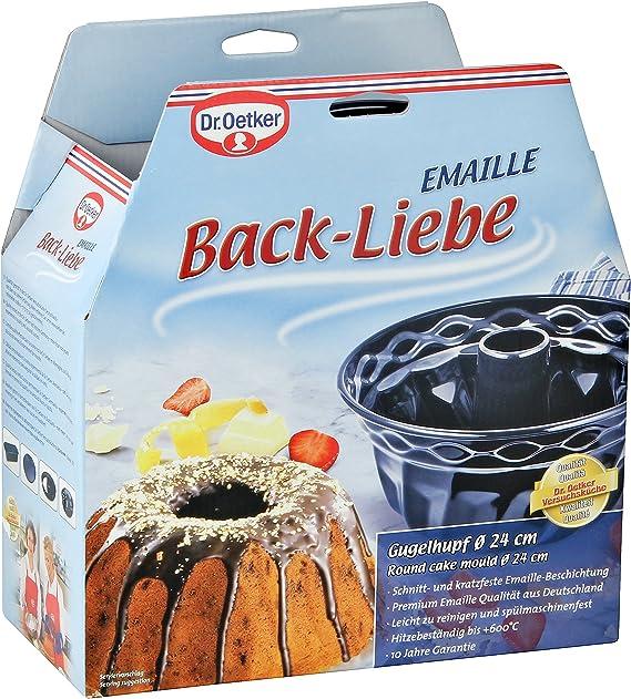Dr. Oetker, 24cm Molde bundt Cake Redondo para bizcochos, flanes y Tartas, Base esmaltada y Antiadherente, 1ud. Back-Liebe, Acero, Azul Oscuro