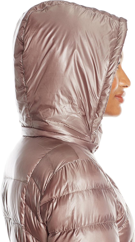 Via Spiga Womens Metallic Packable Down Coat with Belt