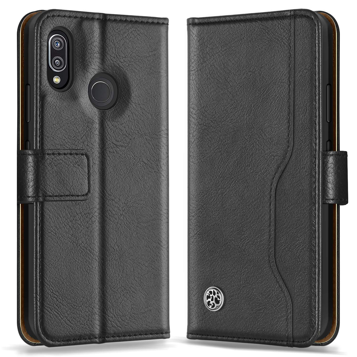 meet 72b9b a1b30 ykooe Huawei P20 Lite Case, Leather Flip P20 Lite Phone Case Wallet  Protective Cover for Huawei P20 Lite (Black)