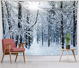 HVEST Winter Tapestry Wall Hanging Snow Tapestry Trees in Snowy Forest Wall Blankets for Bedroom Living Room Dorm Decor,80Wx60H inches