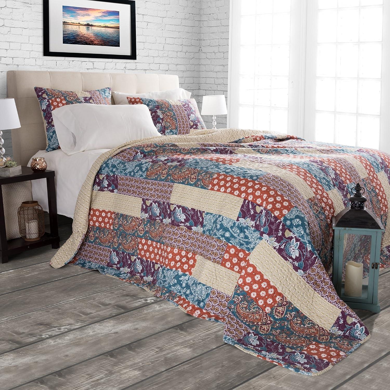 King Trademark Global 66-10060-K 3 pc Quilt Set Cabin and Lodge Santa Fe by Lavish Home