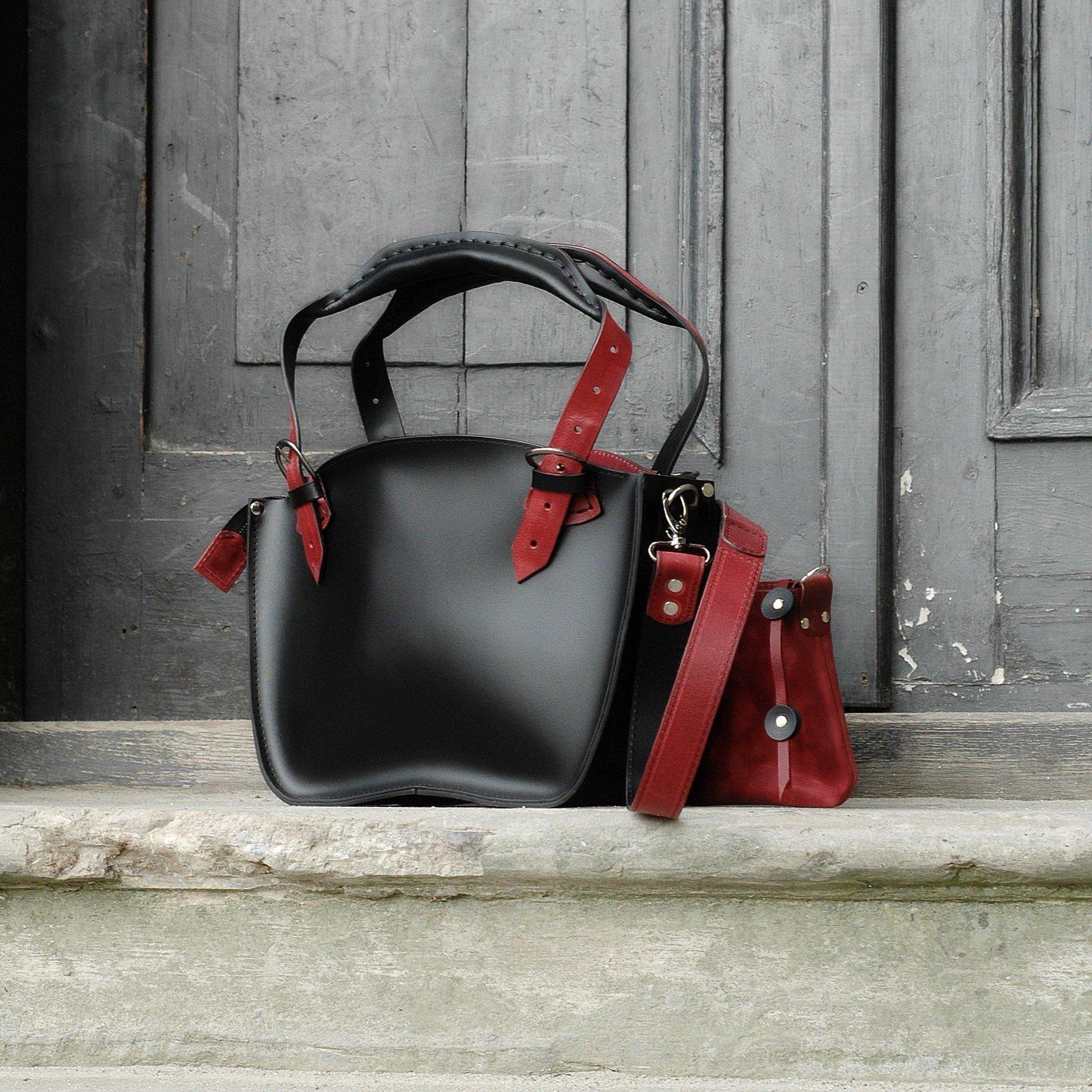 Handmade & Handstiched Leather Designer Tote Bag, Black & Raspberry, NEW