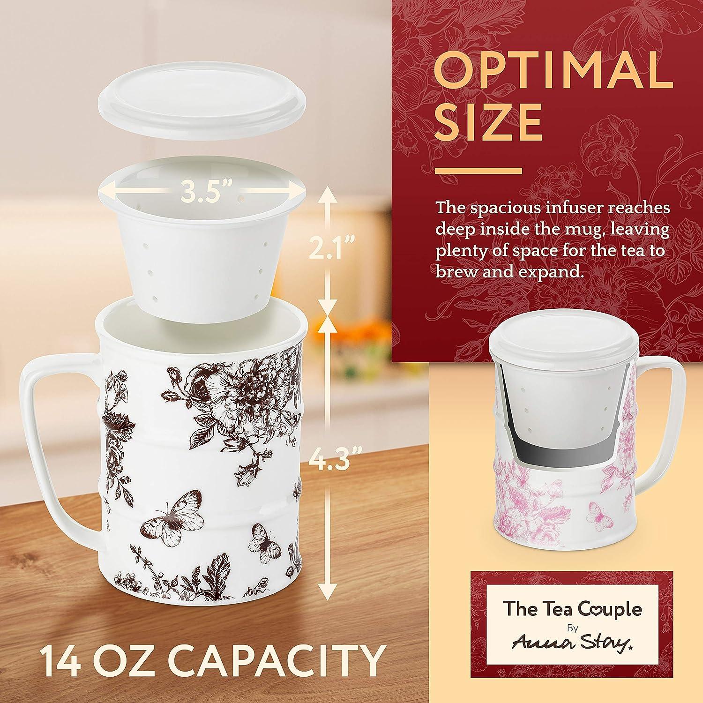 The Tea Couple Tea Infuser Mug Non-Slip Drink Coasters Set of 2 Reusable Home /& Office Drinkware 14 oz Vintage Porcelain Tea Cups w//Ultra-Fine Mesh for Steeping Bloom 2 Heat-Resistant