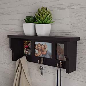 Lavish Home Wall Shelf and Picture Collage with Ledge and 3 Hanging Hooks Frame Decor Shelving with Modern Look, Holds 3 Photos (Dark Brown)