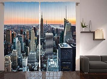 Modern Curtains World Decor By Ambesonne New York City Manhattan Skyline Sunset Contemporary Landscape