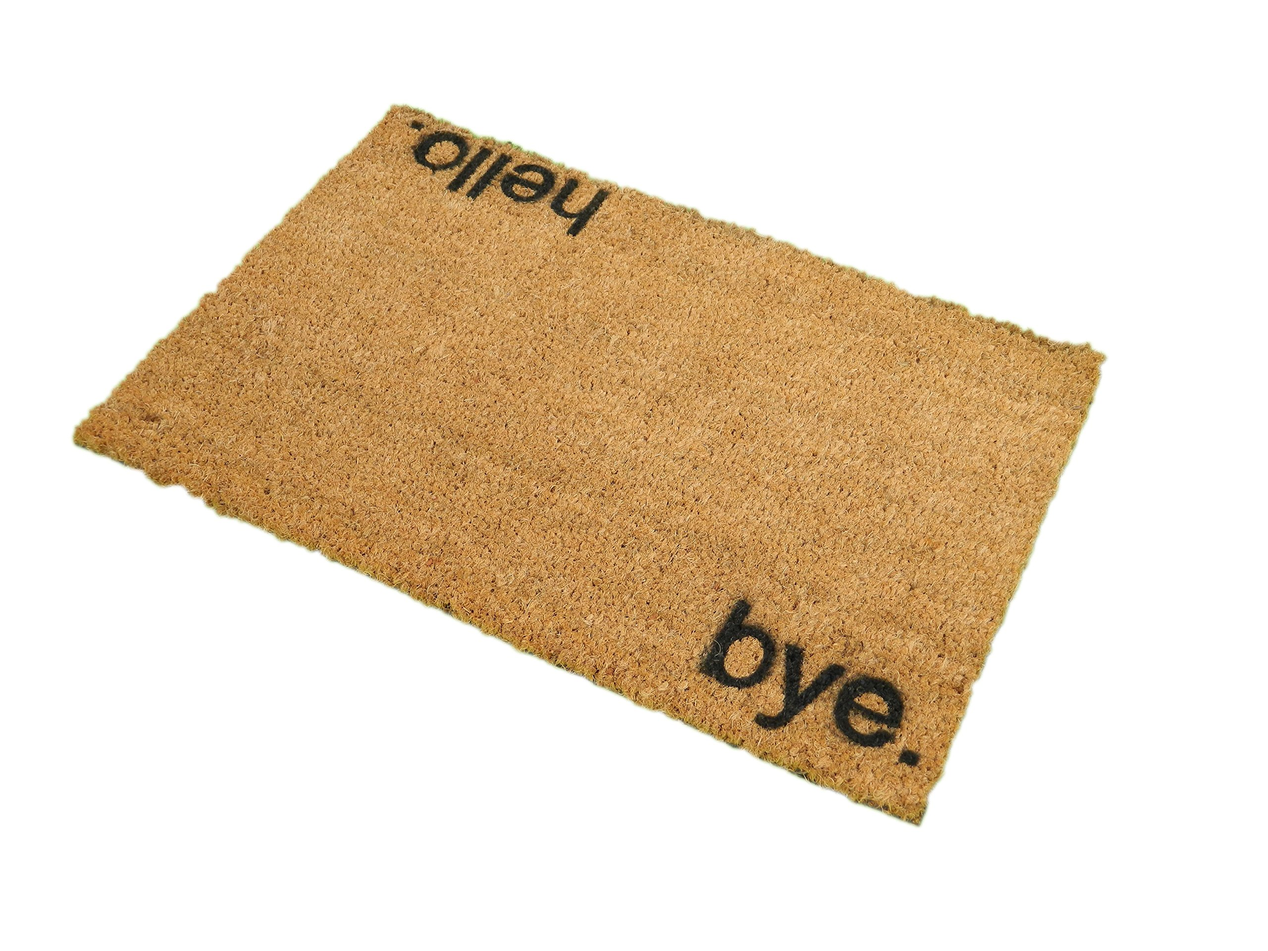 CKB Ltd Hello, Bye Novelty Doormat Unique Doormats Front/Back Door Mats Made With A Non-Slip Pvc Backing - Natural Coir - Indoor & Outdoor