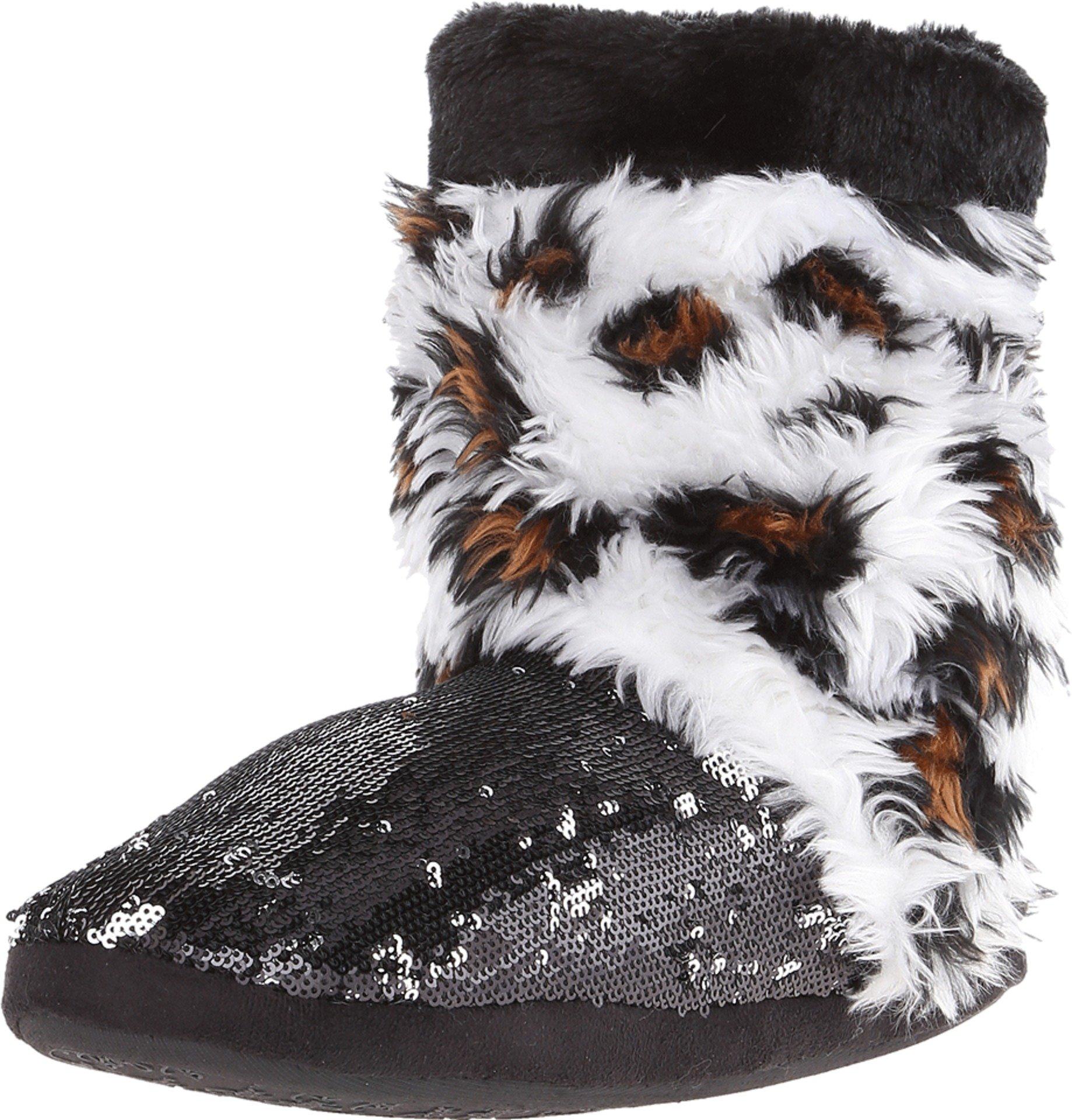 Blazin Roxx Women's Sequin Leopard Boot Slippers, Black Faux Fur, XL