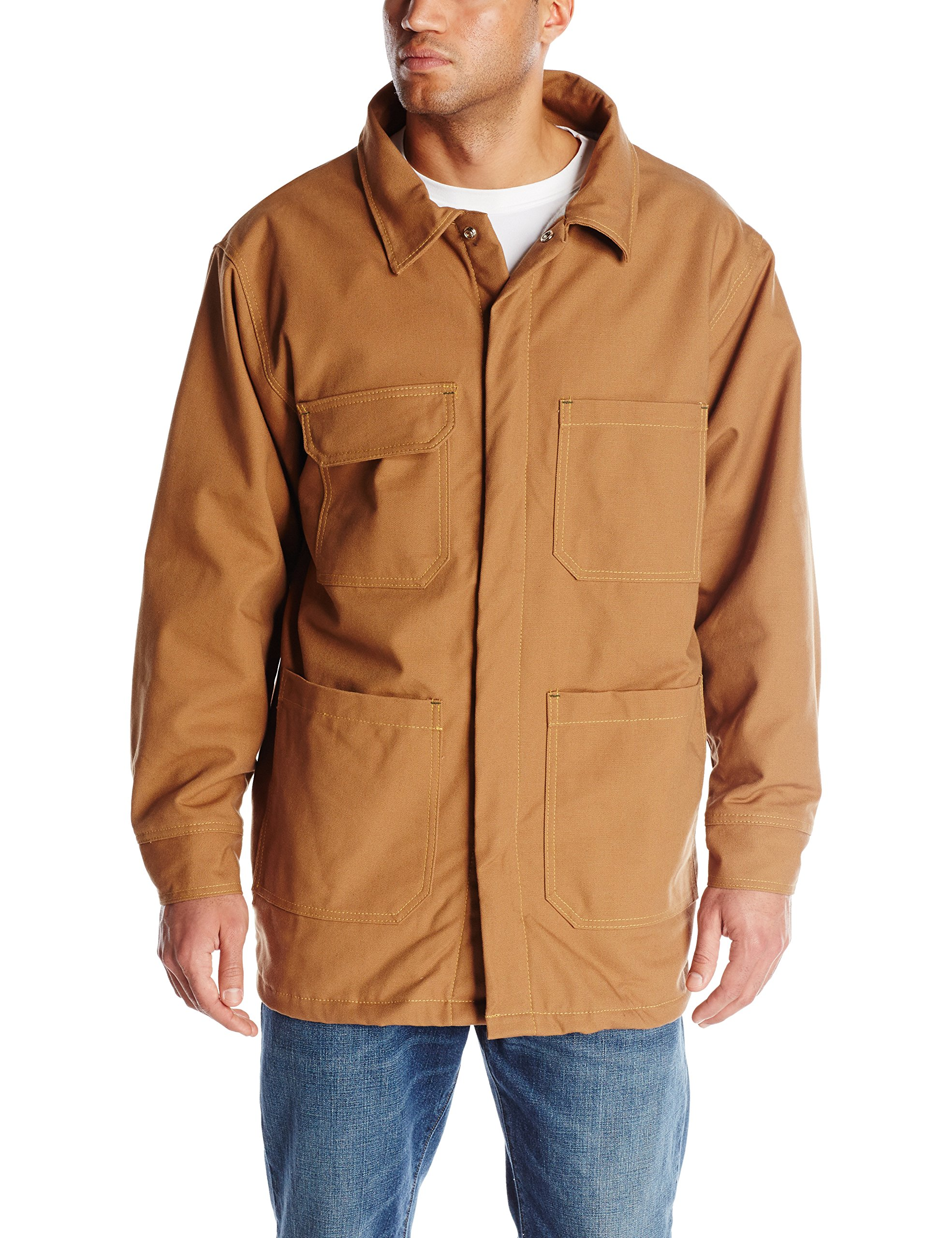 Bulwark Flame Resistant 11 oz Cotton/Nylon Excel FR ComforTouch Regular Brown Duck Lineman's Coat with Self Fabric Lay-Flat Collar, Brown Duck, Large