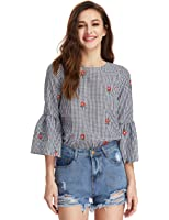 Floerns Women's Floral Embroidery Loose Blouse Bell Sleeve Top