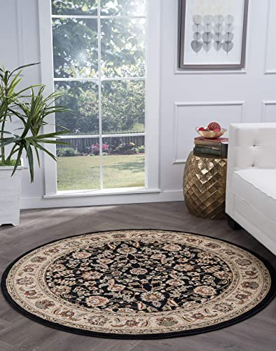 Tayse Lizbeth Black 8 Foot Round Area Rug