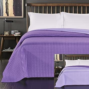 decoking couvre lit violet jet de lit double face surpiqre purple paul polyester - Couvre Lit Violet