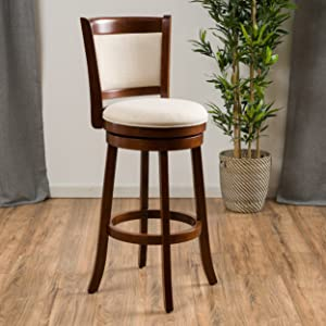Christopher Knight Home 296632 Davis Fabric Swivel Bar Stool, Beige