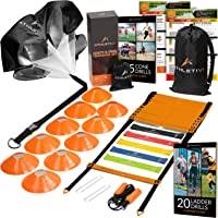 Athletivi Speed & Agility Training Set - Ladder Kit with Fixed-Rungs, Cones, and Resistance Parachute Improves…