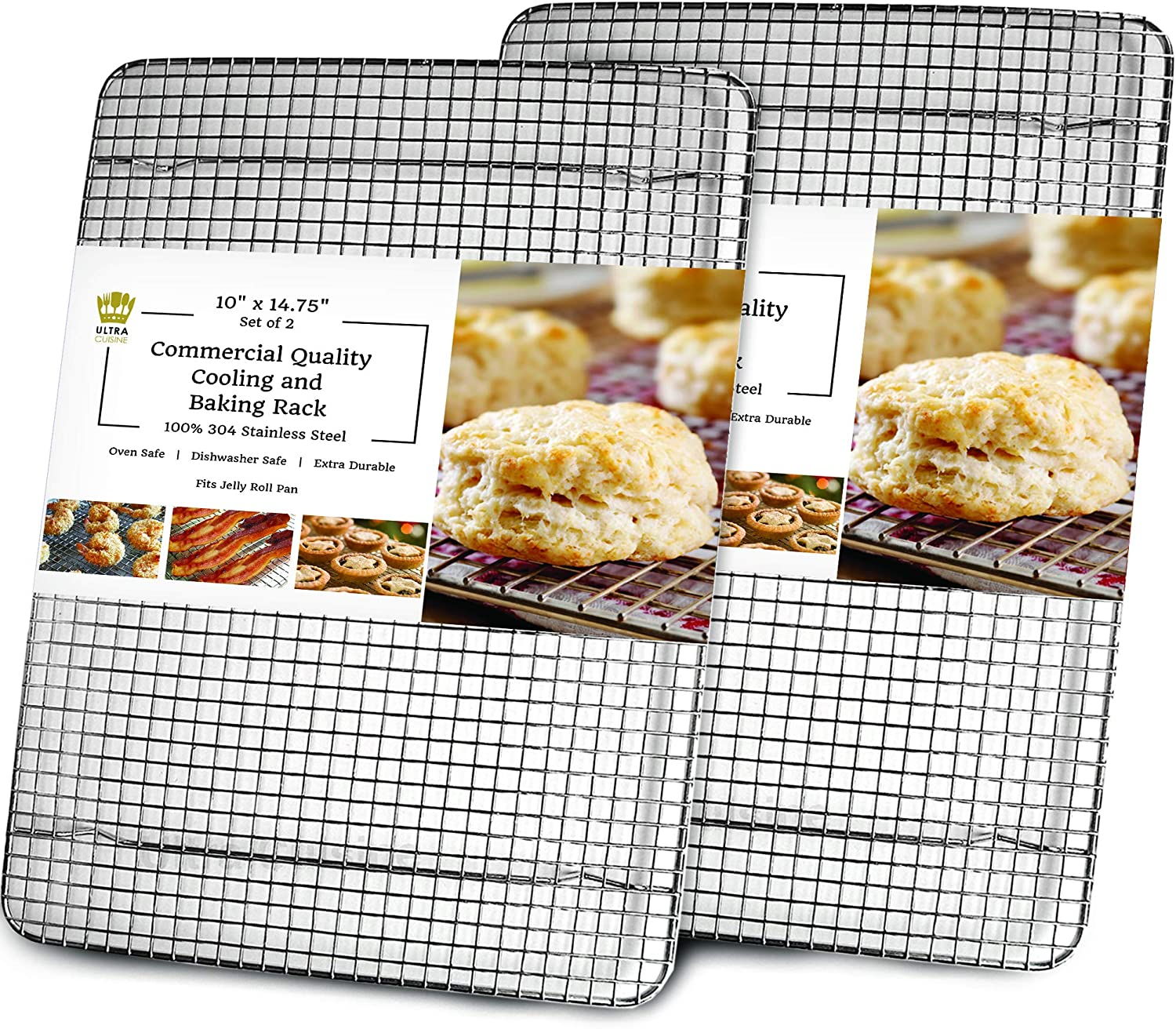 "Cooling, Baking & Roasting Wire Racks for Sheet Pans - 100% Stainless Steel Metal Racks for Cooking - Dishwasher Safe, Rust Resistant, Heavy Duty (10"" x 14.75"" - Set of 2)"