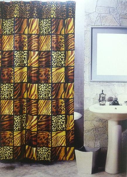 5pcs Bath Rug Set Leopard Print Bathroom Rug Shower Curtain Mat / Rings