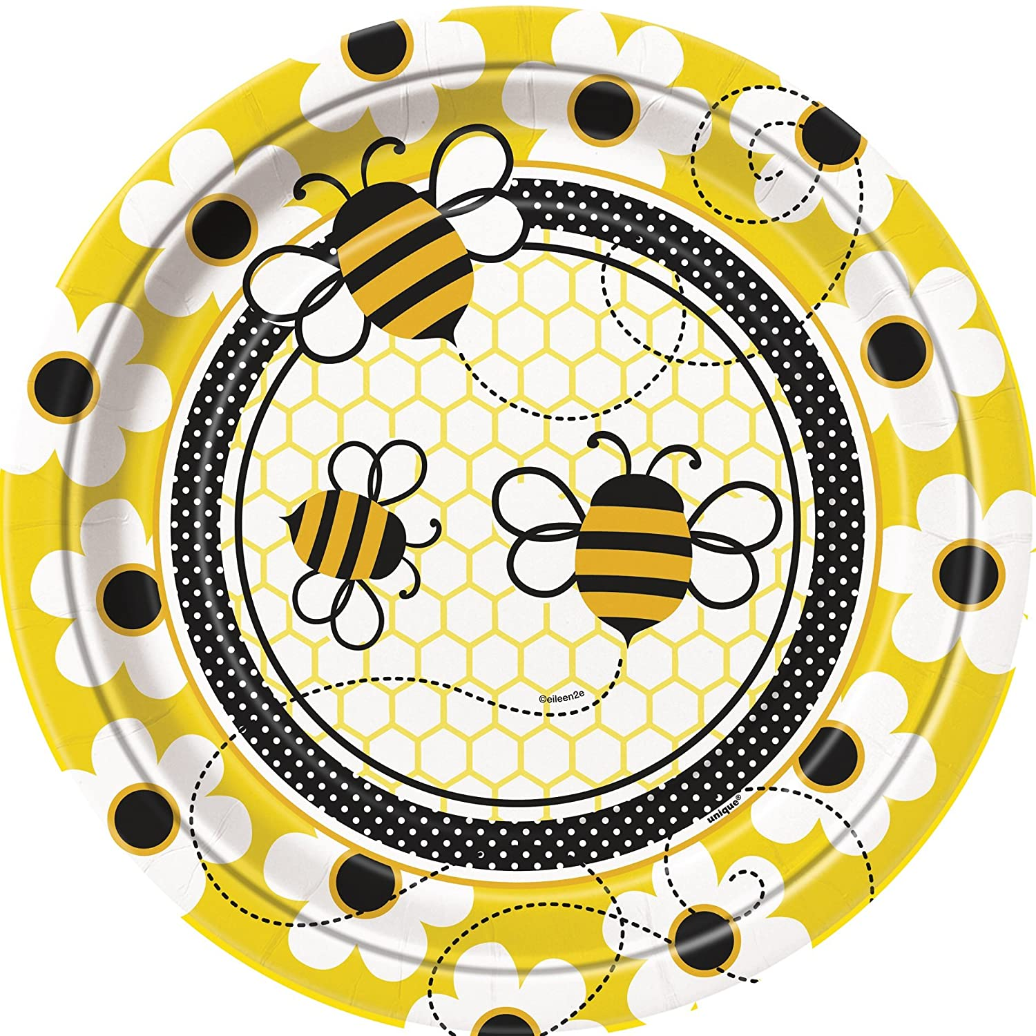 Baby Shower Busy Bees Plates - Pack of 8 Unique 43425