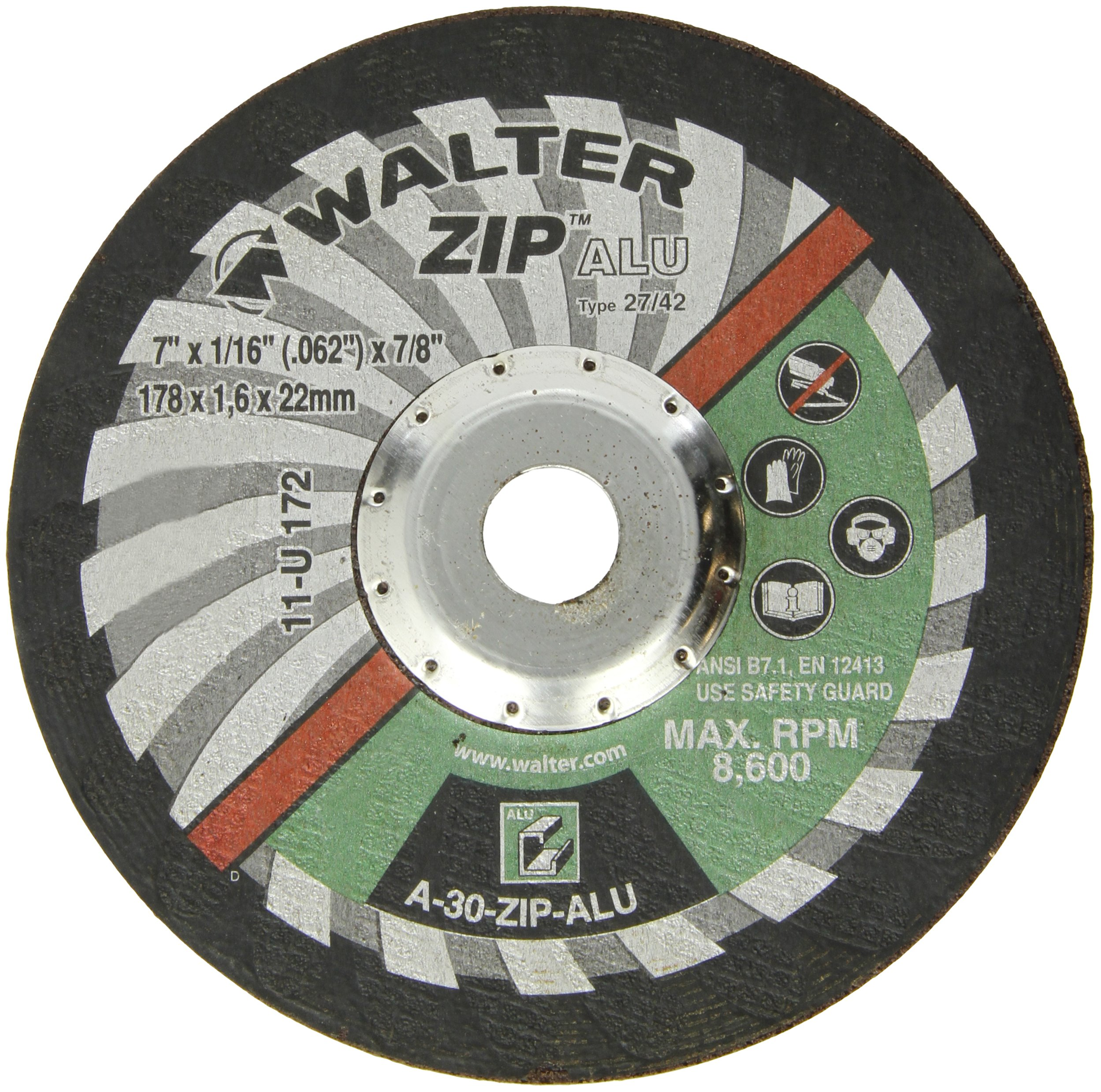 Walter ZIP Alu Fast and Free Cutoff Wheel, Type 27, Round Hole, Aluminum Oxide, 7'' Diameter, 1/16'' Thick, 7/8'' Arbor, Grit A-30-ZIP-ALU (Pack of 25)