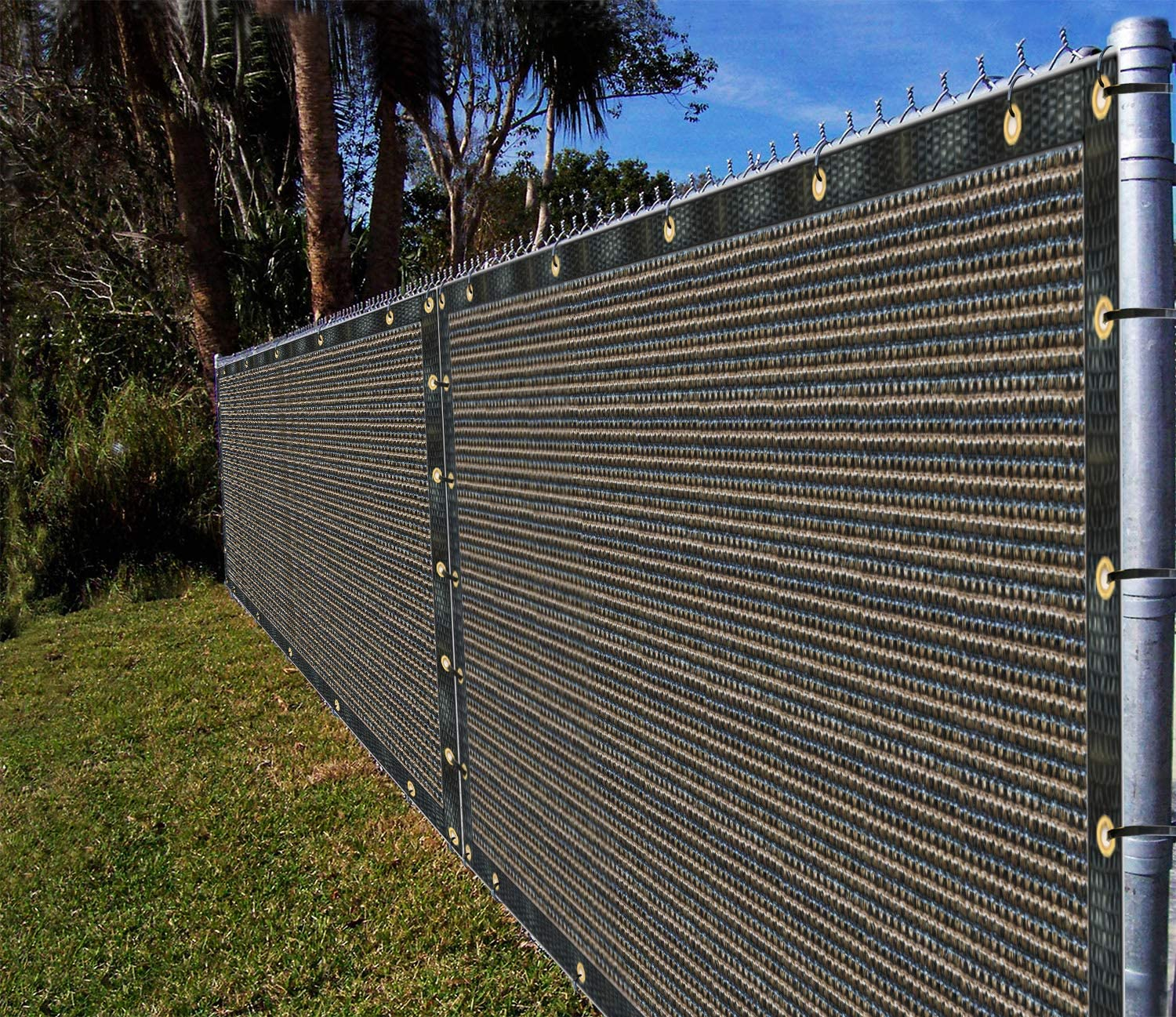 Ifenceview 8'x3' to 8'x50' Brown Shade Cloth/Fence Privacy Screen Fabric Mesh Net for Construction Site, Yard, Driveway, Garden, Railing, Canopy, Awning 160 GSM UV Protection (8' x 8')