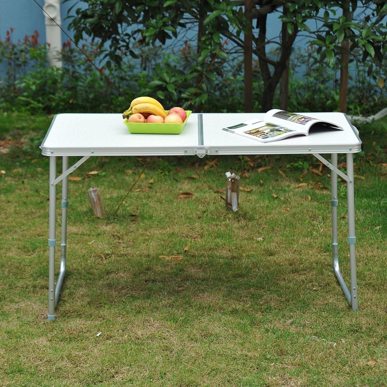 HOMCOM Outsunny Mesa Madera de Camping Plegable Convertible en Maleta Altura Regulable para Picnic 120x60x54-70 cm con Marco de Aluminio: Amazon.es: Jardín