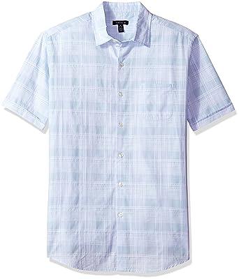 45cac84a Van Heusen Men's White Washed Short Sleeve Button Down Plaid Slub Shirt at Amazon  Men's Clothing store: