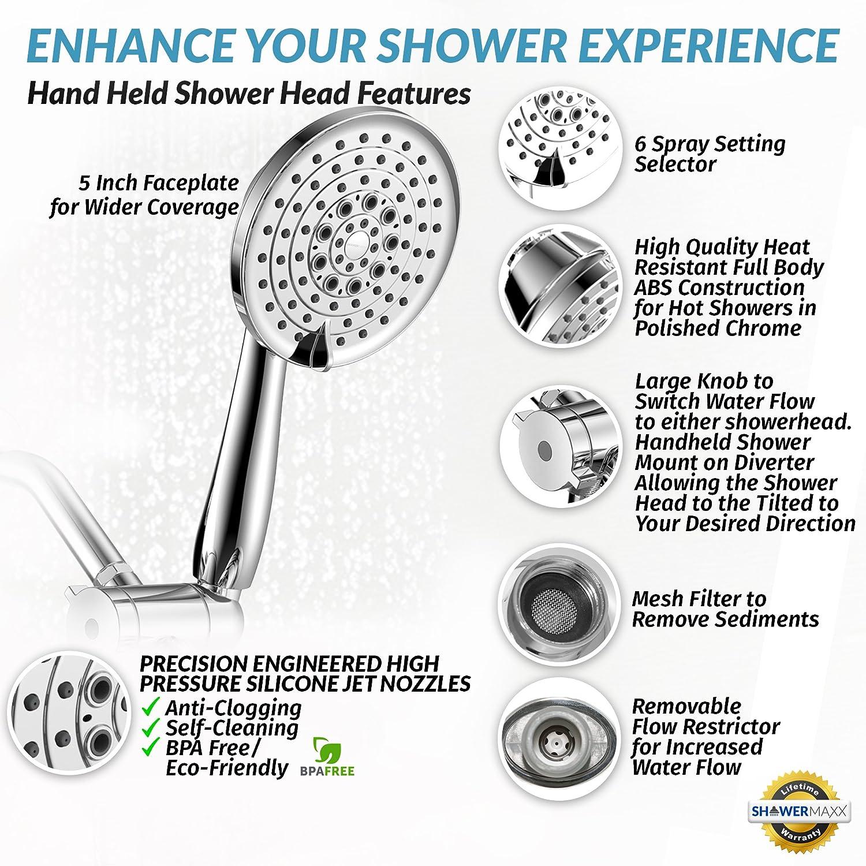 Handheld & Fixed Chrome Shower Head Combo | Dual Showerhead System ...