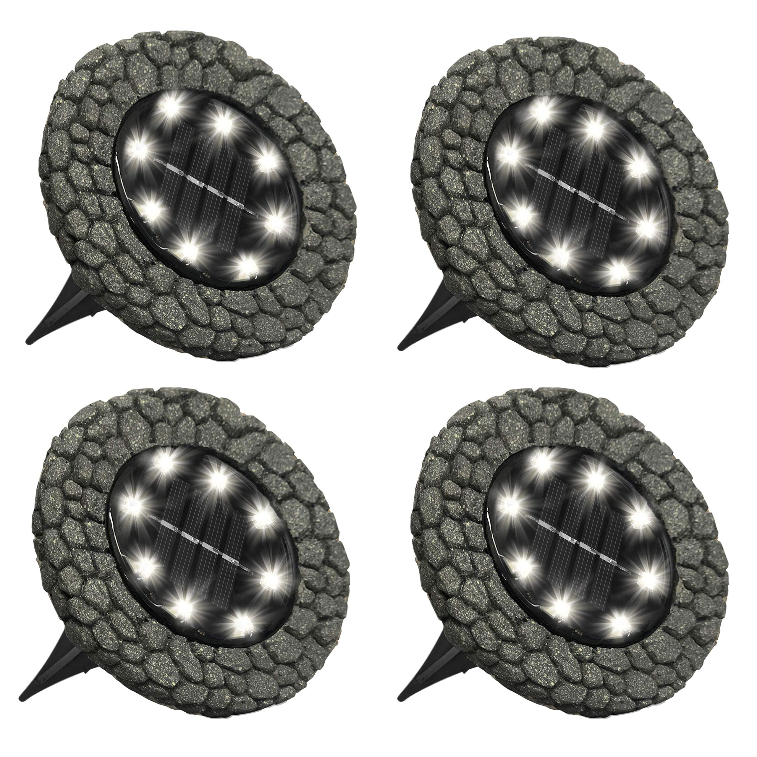 Bell+Howell Disk Lights Stone - Heavy Duty Outdoor Solar Pathway Lights - 8 LED, Auto On/Off, Water Resistant, with Included Stakes, for Garden, Yard, Patio and Lawn -As Seen on TV by Bell+Howell