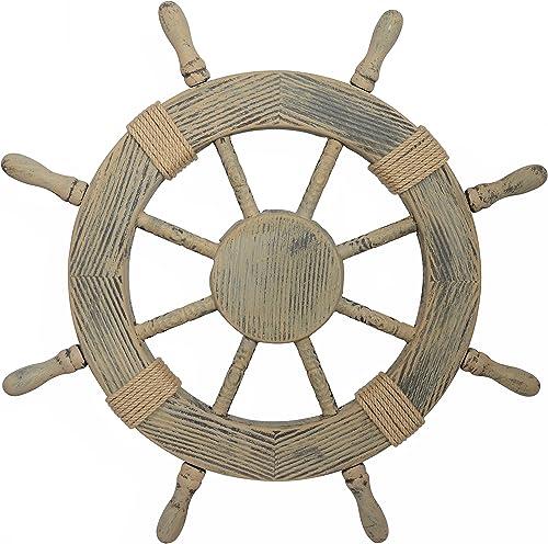 Nautical Decor 24 Wood Look Pirate s Ship Wheel Marine Wall Decor