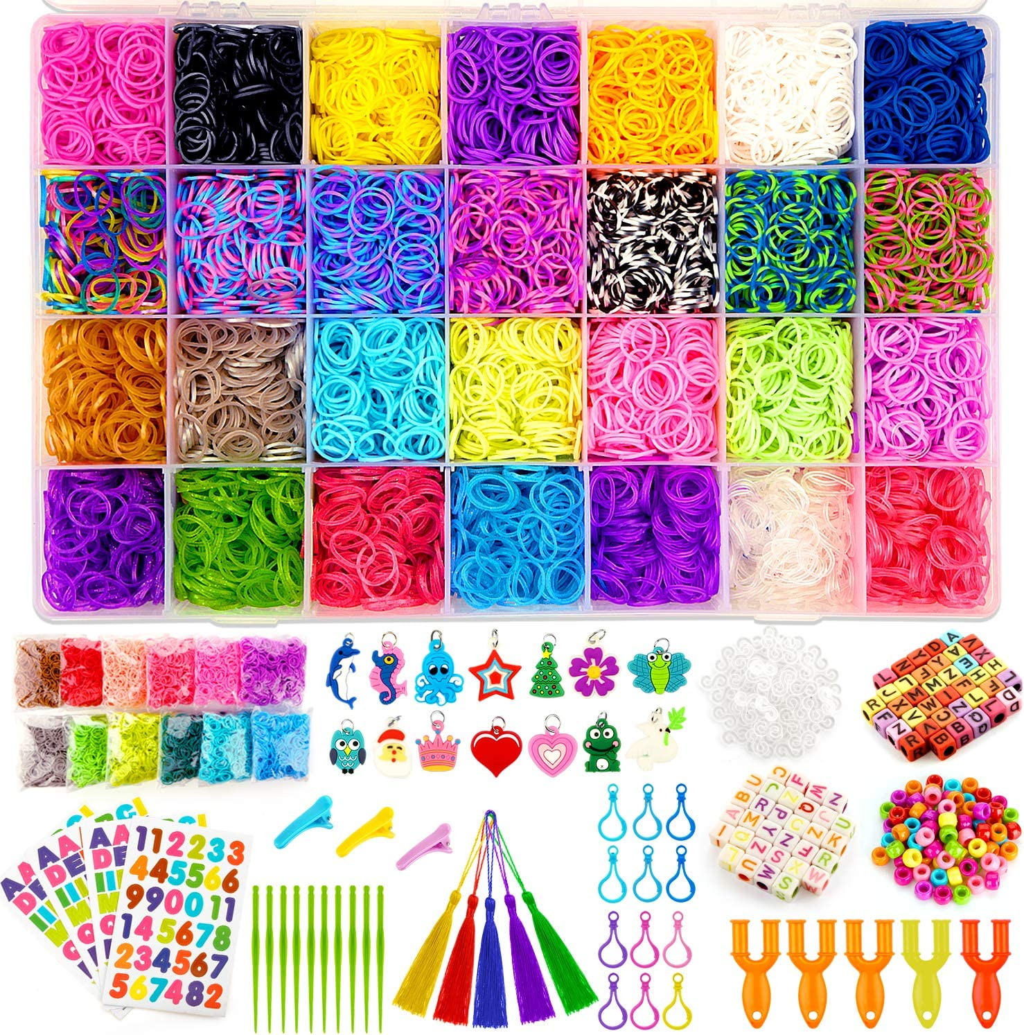 Loom Band refills with 1200 colourful rubber bands 48 x S clips 2 x hooks