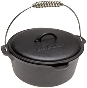 Old Mountain Pre Seasoned 10111 4 1/2 Quart Dutch Oven with Dome Lid and Spiral Bail Handle