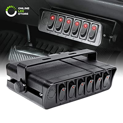 ONLINE LED STORE 6-Gang 12V Rocker Switch Box [60 Amp Max.] [12 AWG Wires][12 Volt DC] SPST On/Off Rocker Toggle Switch Panel Box for Jeep Auto Automotive Lights Car Marine Boat Truck Vehicles & More: Automotive
