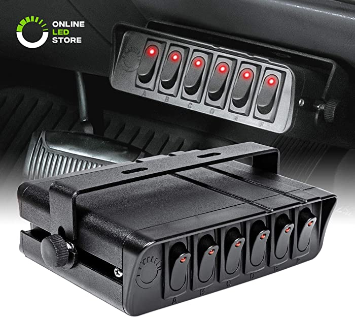 80-Amp On/Off Switch Box [20A Rocker Switches] [LED Backlit] [12AWG Input Wire] 12V SPST 6-Gang Rocker Switch Panel for Automotive