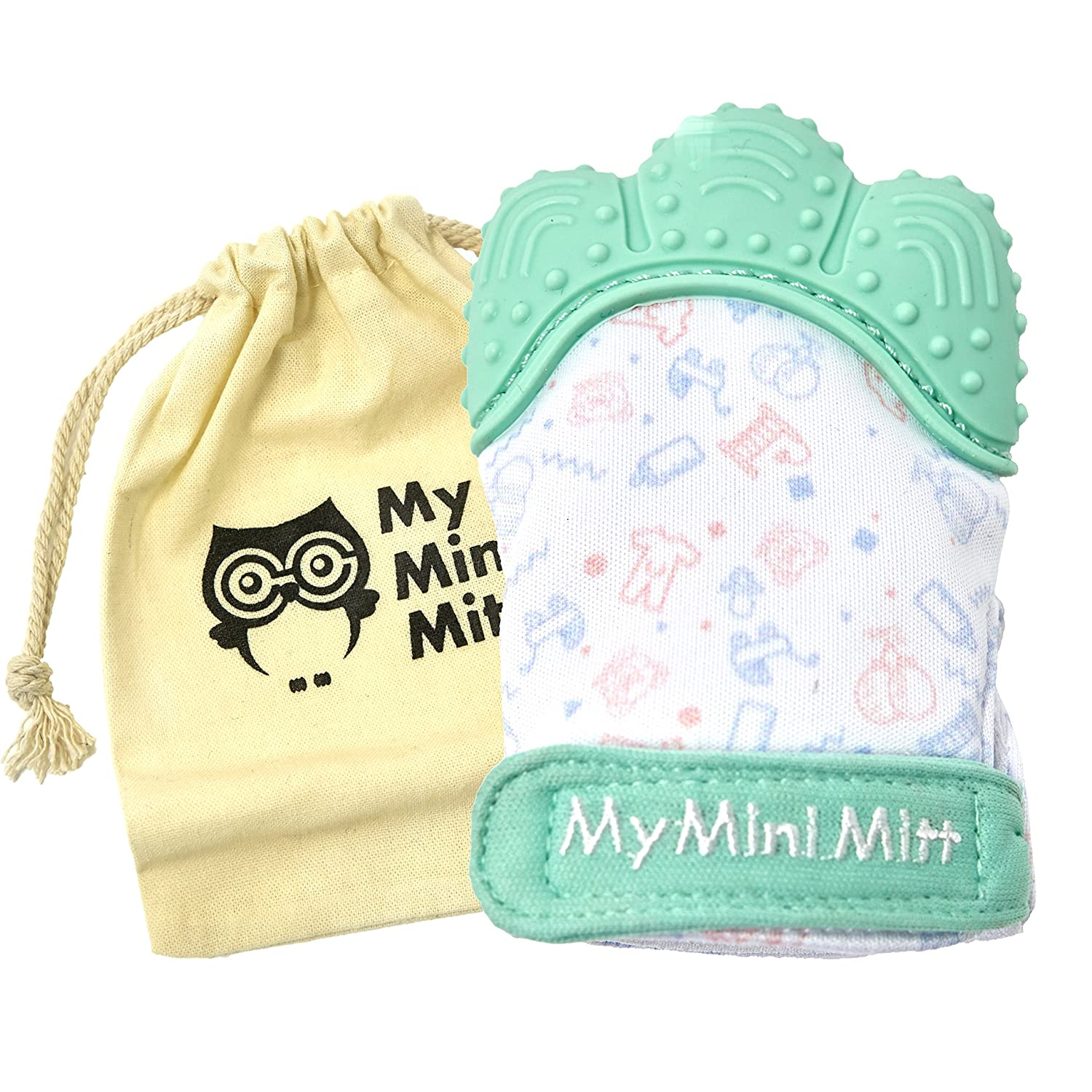 My Mini Mitt | Teething Mitten | Soothing Gum Relief Toy Glove & Teether for Babies, Infants, Toddlers, Boy & Girl | 3-12 Months | Baby Shower Gift + BONUS Storage Pouch (Pastel Blue) AB Central