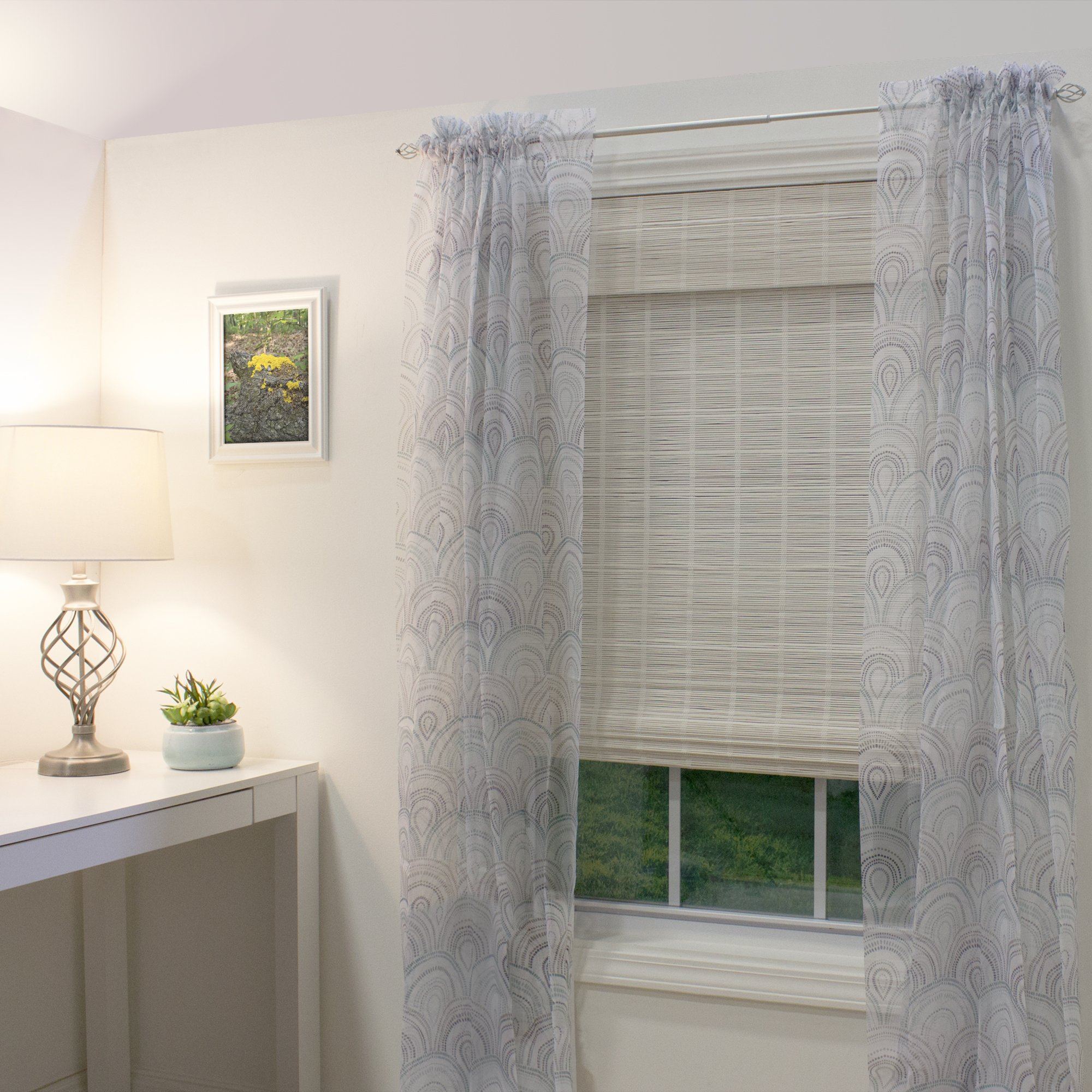 Lewis Hyman Cordless Bayshore Matchstick Bamboo Roman Shade-35 in. W x 64 in. L Bamboo Blinds, Roman, Cordless Shades, 35'' W x 64'' L, White by Lewis Hyman (Image #4)