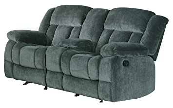 Homelegance 9636CC-2 Laurelton Textured Plush Microfiber Dual Glider Recliner Love Seat with Console  sc 1 st  Amazon.com : recliner love seats - islam-shia.org