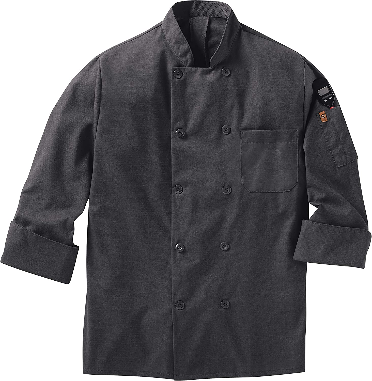 Red Kap Men's Long Sleeve Ten Button Chef Coat with Mimix and Oilblok