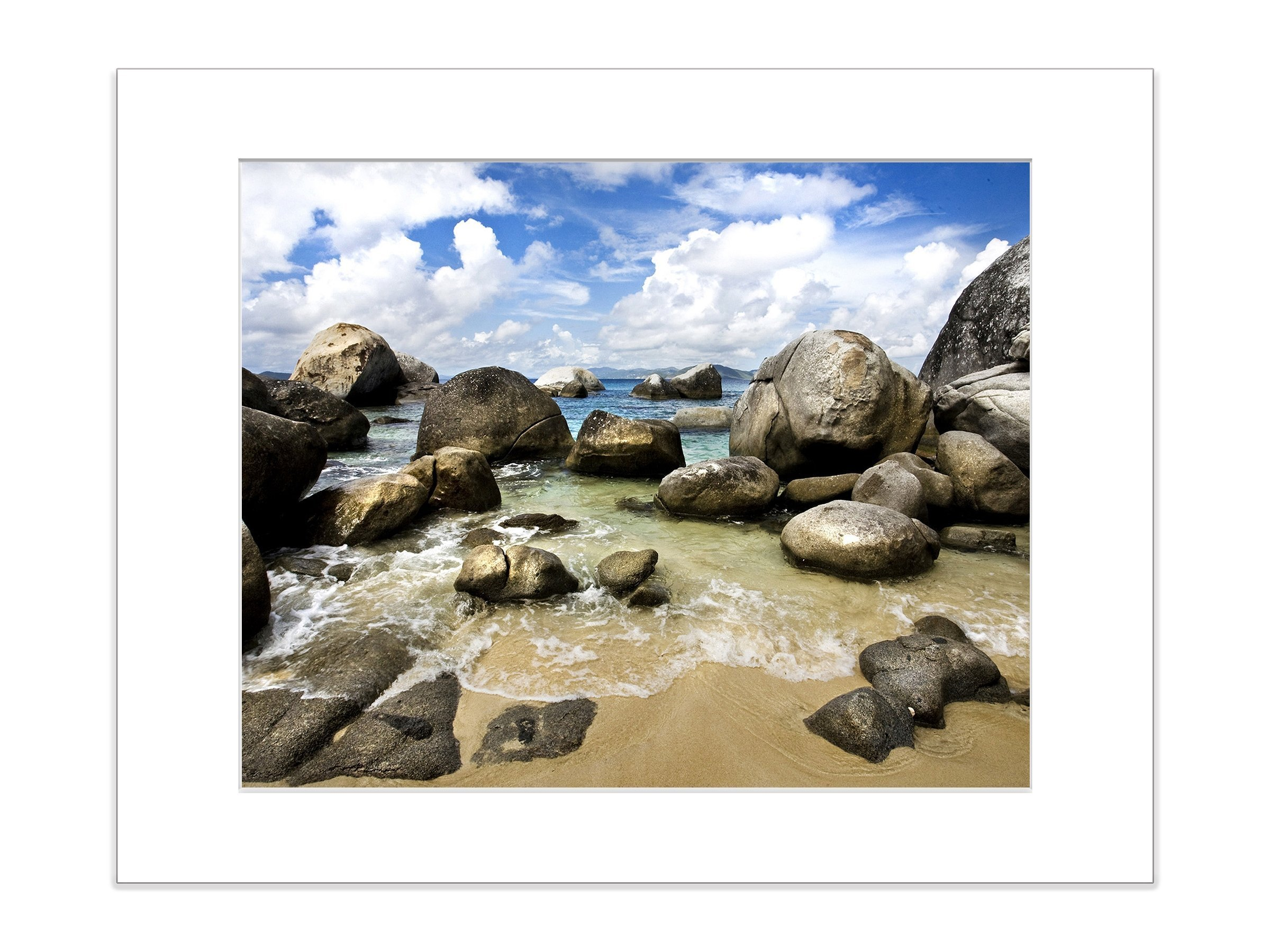 Coastal Beach Photography Sand Waves Boulders Tropical 5x7 Inch Matted Print