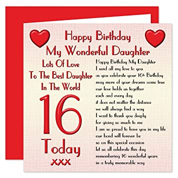 Daughter 16th Happy Birthday Card