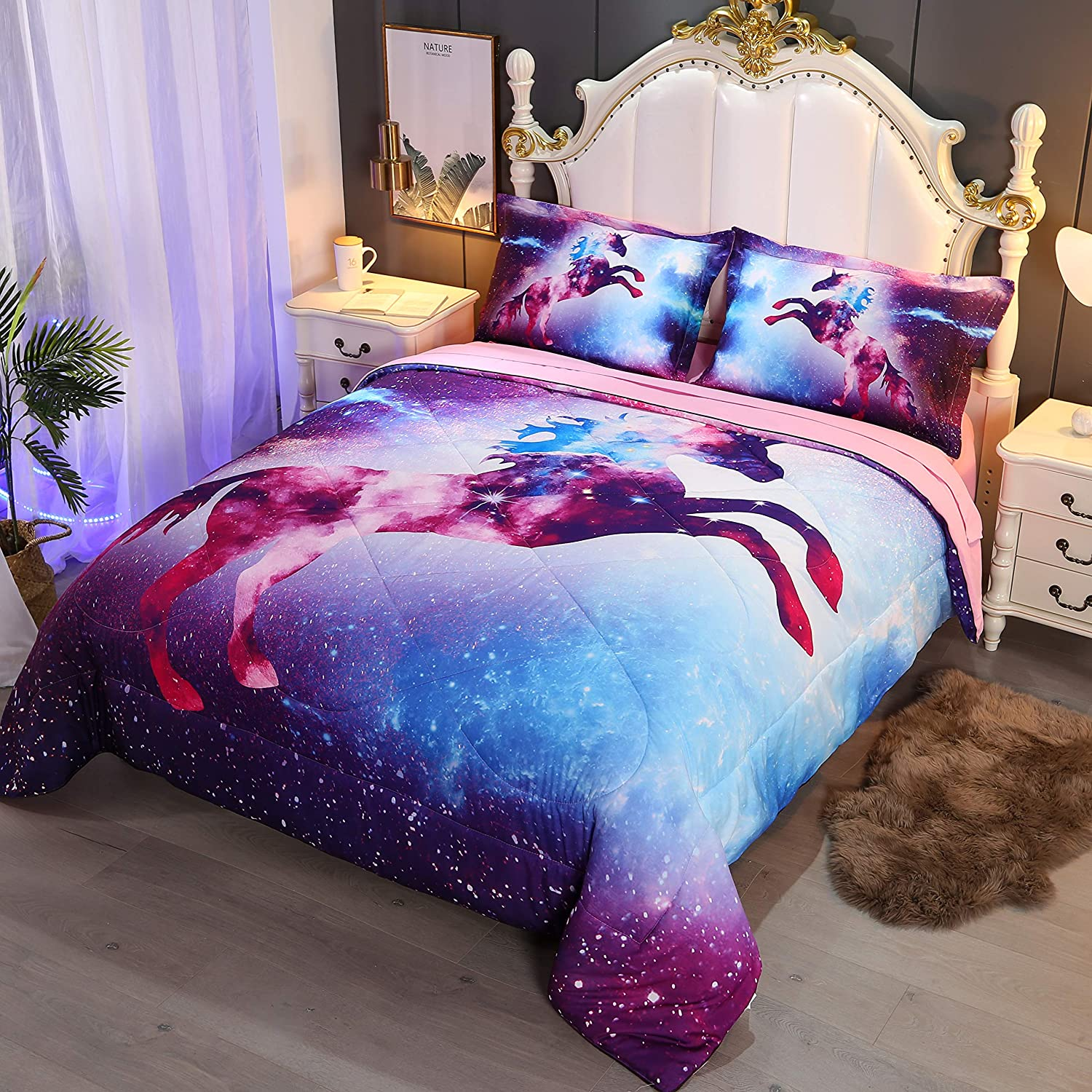 Wowelife Unicorn Duvet Cover Set Full Blue Fly Horse Bedding Set with 1 White Comforter Blue Unicorn-5 Piece, Full Fitted Sheet not Included