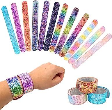 Amazon.com: 12 pulseras con purpurina para niños niñas y ...