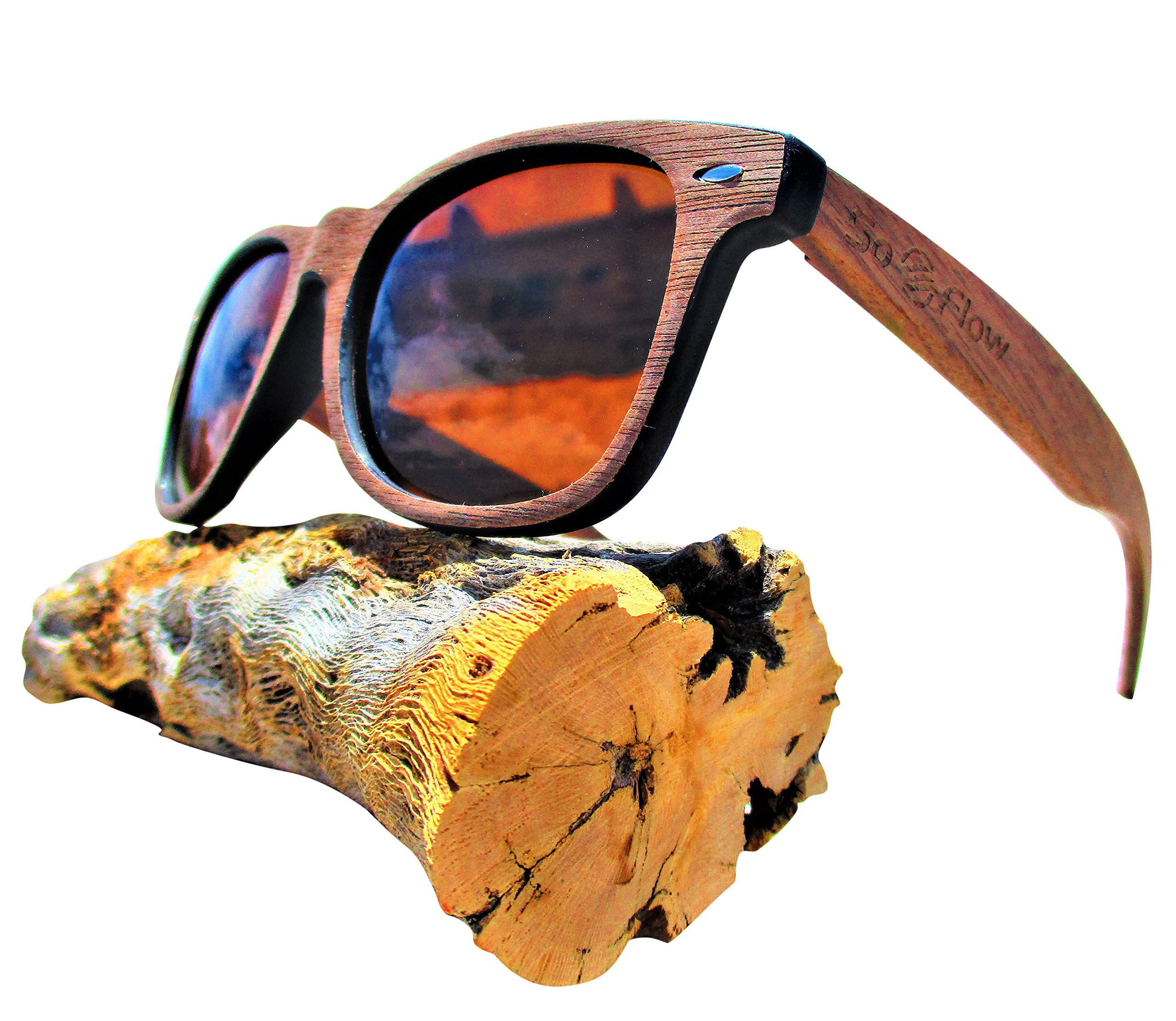 Polarized Brown Walnut Wood Sunglasses - Wooden - Wayfarer - Men - Women - UV400
