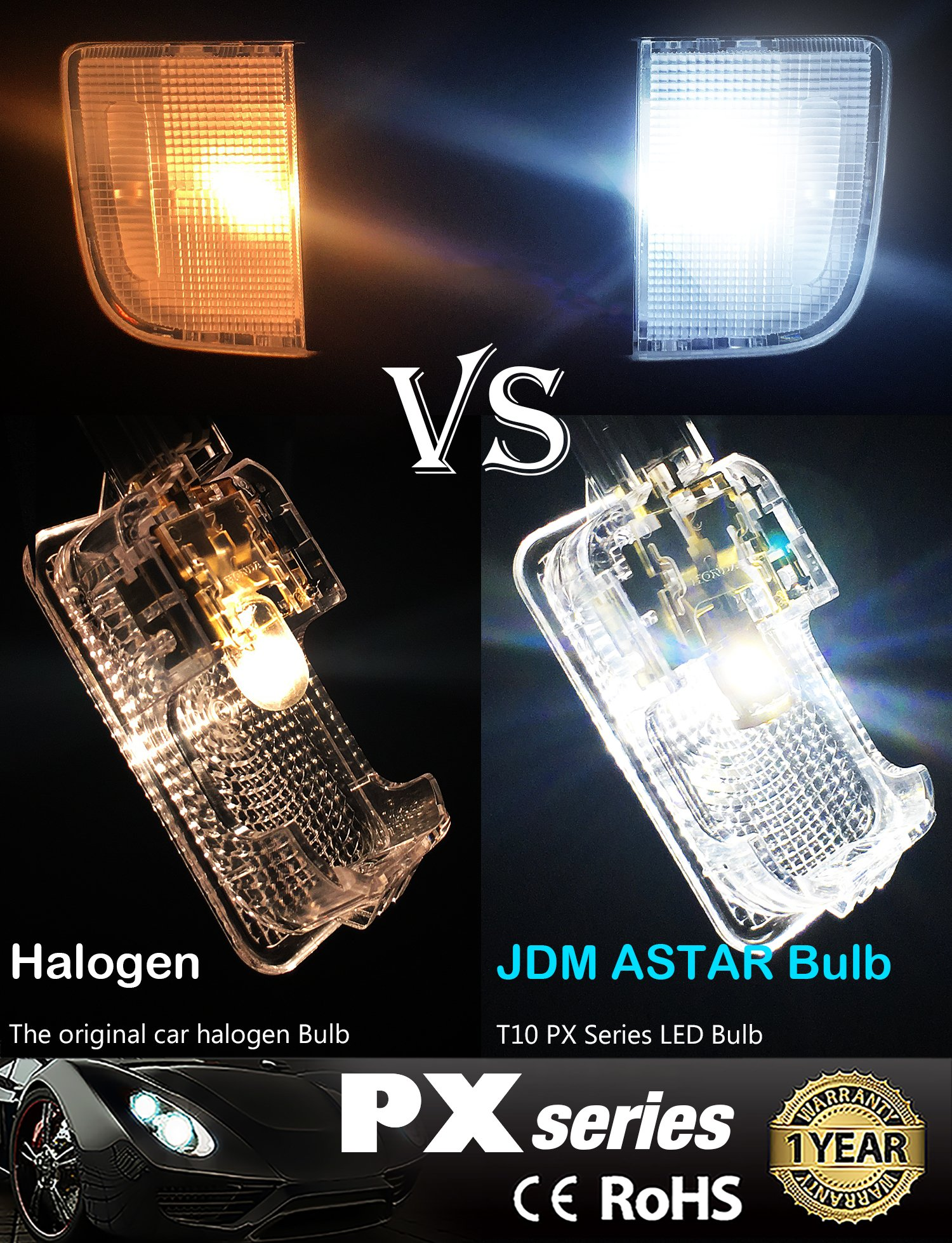 JDM ASTAR 10pcs Super Bright 194 168 175 2825 T10 PX Chipsets LED Bulbs,Xenon White (Best Value on the market) by JDM ASTAR (Image #2)