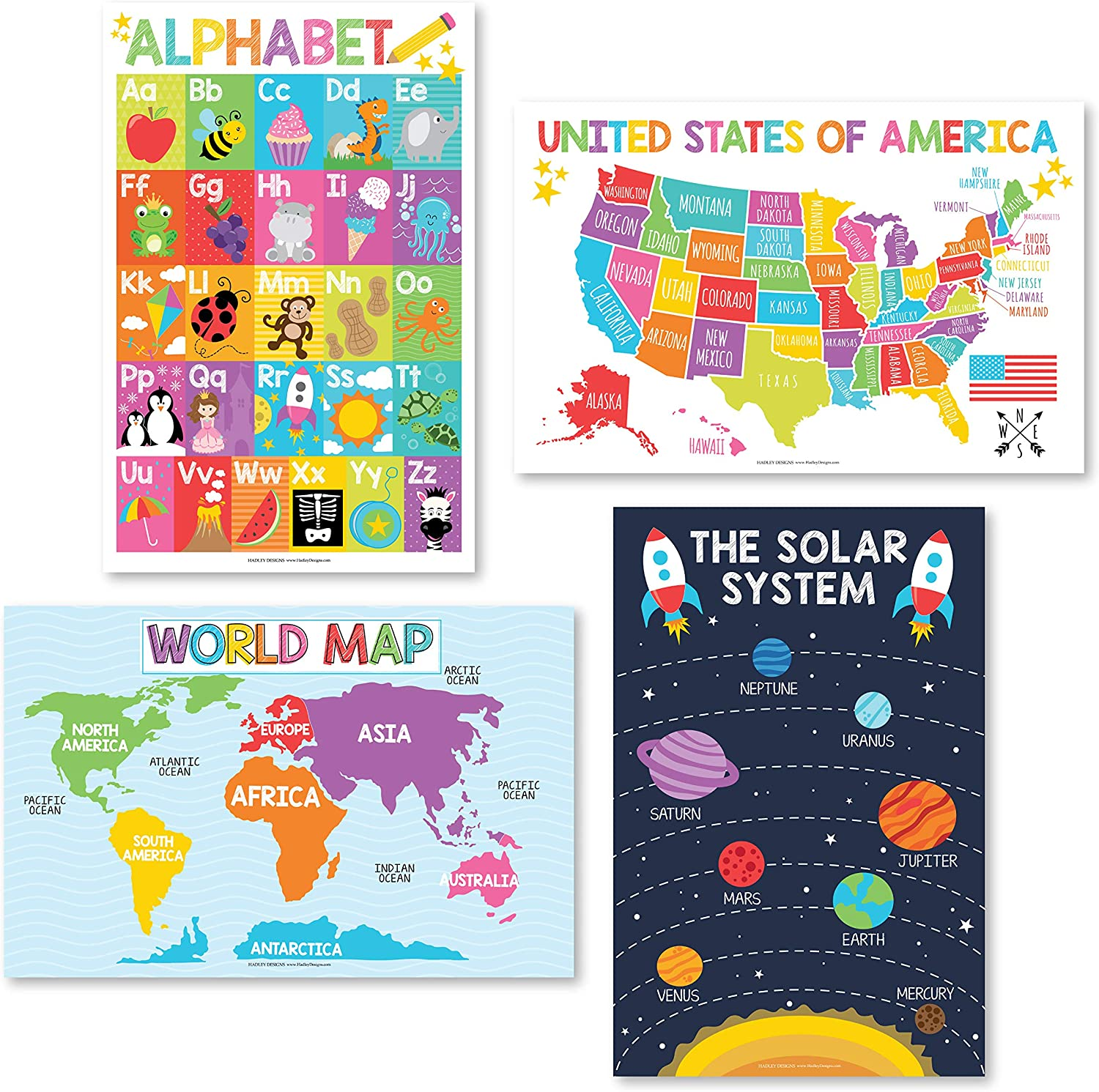 """4 Alphabet, Map of United States, World Map, Solar System, ABC Posters Toddlers Wall Art Decor, Planets for Kid Chart, US Travel Map Laminated Kindergarten Classroom Prek Homeschool Supplies 11x17"""""""