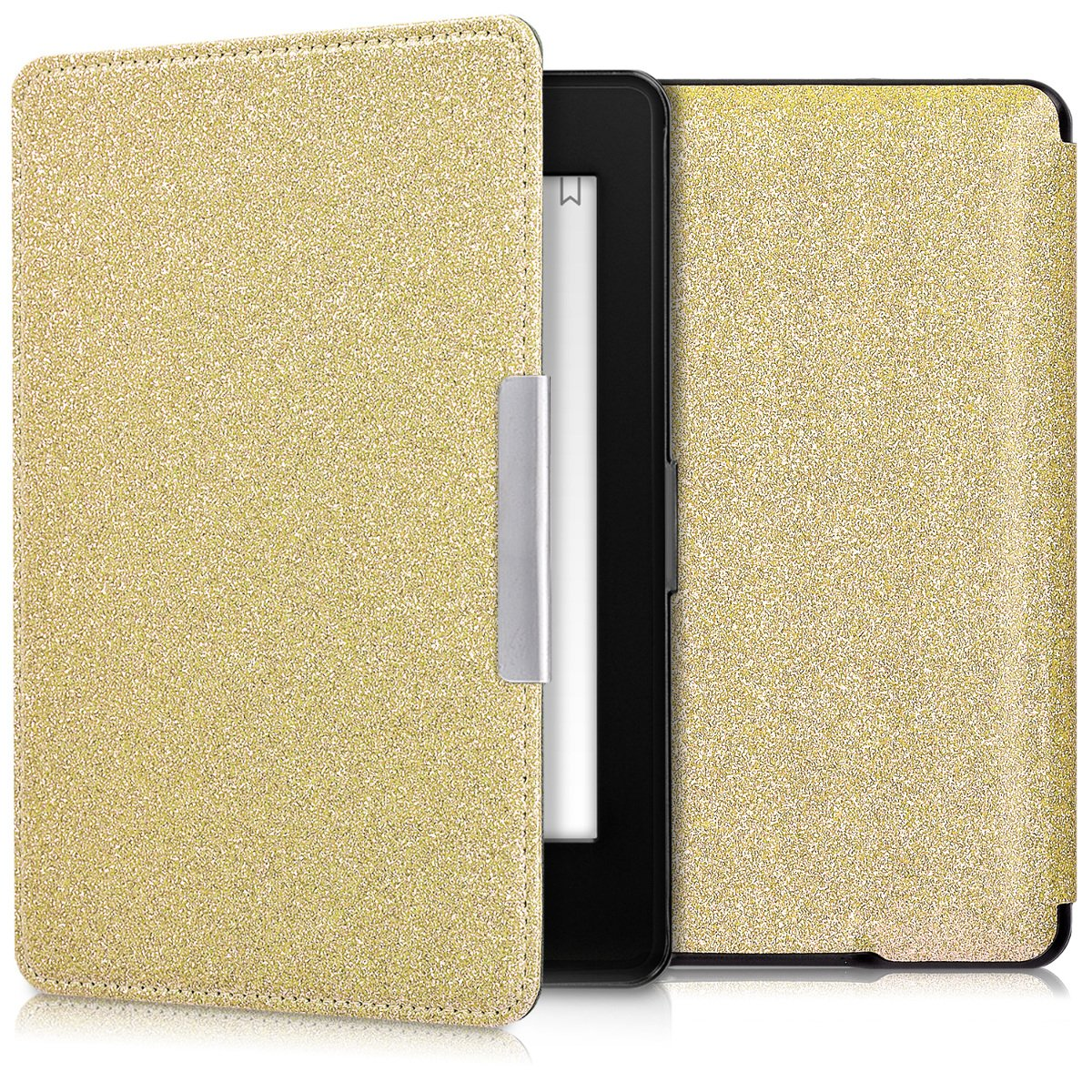 kwmobile Case for Amazon Kindle Paperwhite - Book Style Protective e-Reader Flip Cover Folio Case Shell - gold