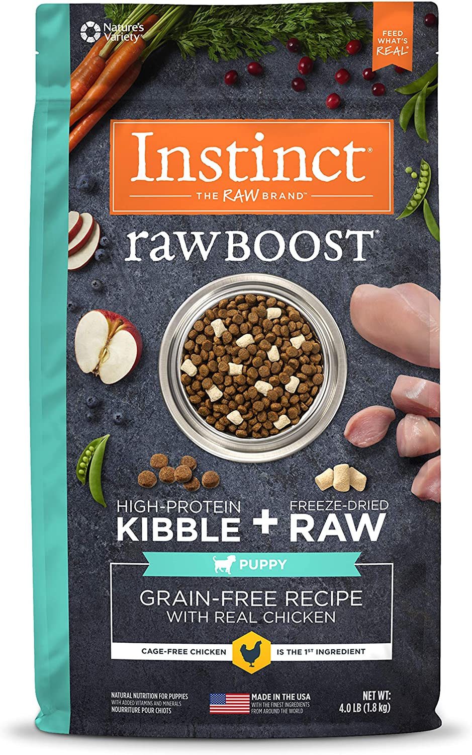 Amazon Com Instinct Raw Boost Puppy Grain Free Recipe With Real Chicken Natural Dry Dog Food By Nature S Variety 4 Lb Bag Pet Supplies
