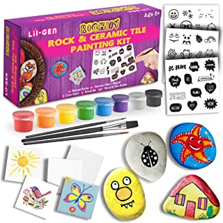 Li'l-Gen Magnetic Tile and Rock Painting Kit for Kids, Arts and Crafts for Girls & Boys - 10 Rocks, 10 Mini Tiles, 8 Paint Colors, Magnets, 3 Brushes and Art Transfer Stickers